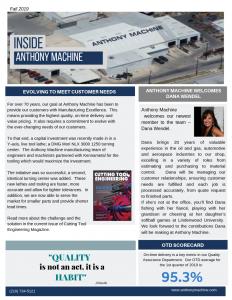 Anthony Machines 3rd quarter 2019 precision machining newsletter